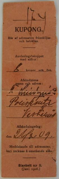 Postanvisningskvitto