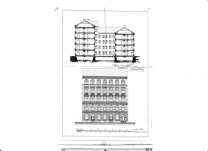 Bygglovssritning på Dalagatan 44 daterade december 1884