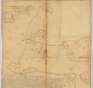 Historisk karta över Stora Hanes gård i Endre socken Storskiftet 1760 mellan bröderna Hans och Per Johansson