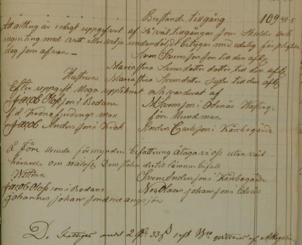 Utdrag ur Sven Svenssons bouppteckning, Kulings härad FII:30 (1853-1856)