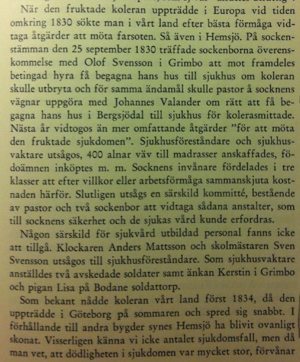 """Utdrag ur Fridolf Wildtes bok """"Hemsjö en västgötasocken intill mitten av 1800-talet"""" utgiven 1954"""