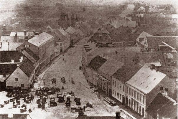 Stortorget och Stora Södergatan i Lund 1880-talet