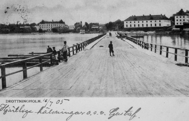 Flottsbro till Drottningholm - vykort 1905