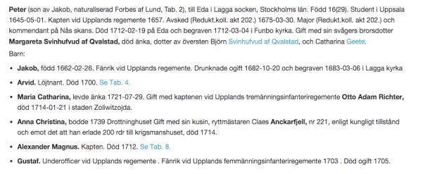 Peter Forbes familj i ätten Forbes af Lund nr 174