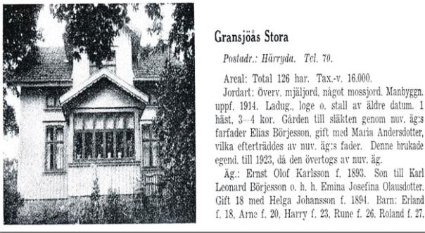 Stora Gransjöås - Källa Gods och gårdar Älvsborgs län